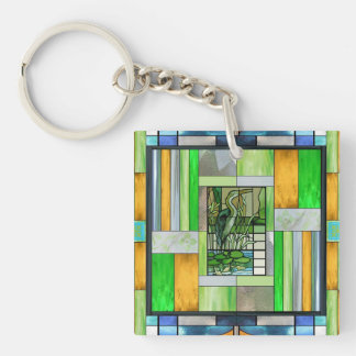 Blue Heron Stained Glass Double-Sided Square Acrylic Keychain