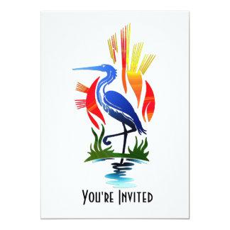 "Blue Heron, Sun & Marsh 5"" X 7"" Invitation Card"