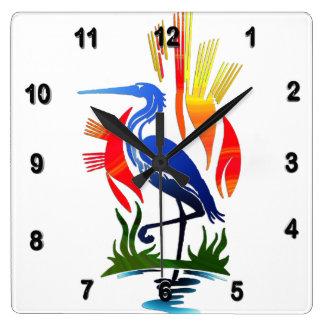 Blue Heron, Sun & Marsh Square Wall Clock
