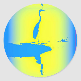 blue heron sunrise classic round sticker