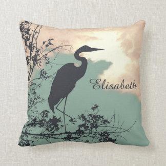 Blue Heron sunset birds watching Throw Pillow