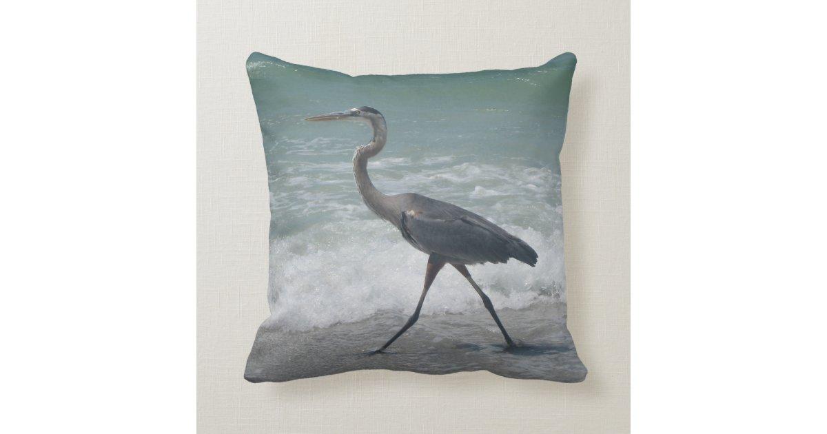 Blue Heron Throw Pillows : Blue Heron Throw Pillow Zazzle