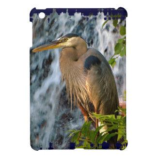 Blue Heron, Wading Bird, Waterfall,Heron Design iPad Mini Cover
