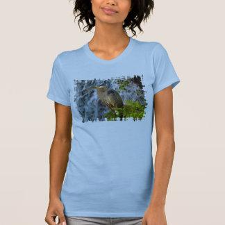 Blue Heron, Wading Bird, Waterfall,Heron Design T-Shirt