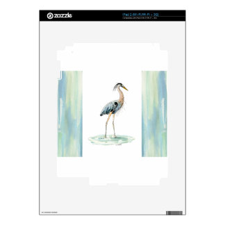 Blue Heron watercolor Decals For The iPad 2