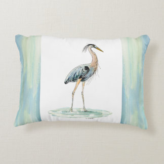 Blue Heron watercolor Decorative Pillow