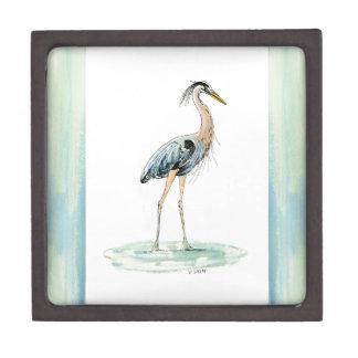 Blue Heron watercolor Jewelry Box