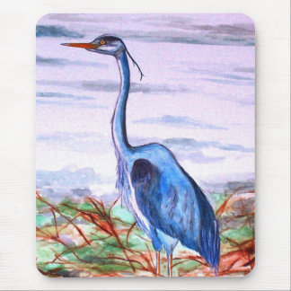 Blue Heron Watercolor Mouse Pad