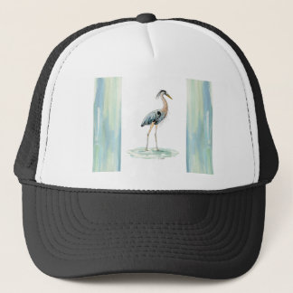 Blue Heron watercolor Trucker Hat