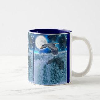 Blue Heron, Waterfall & Rising Moon Fantasy Mug