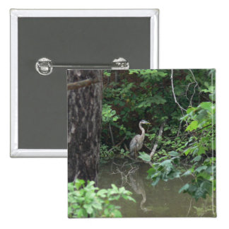 Blue Heron with Reflection on Water Pinback Button