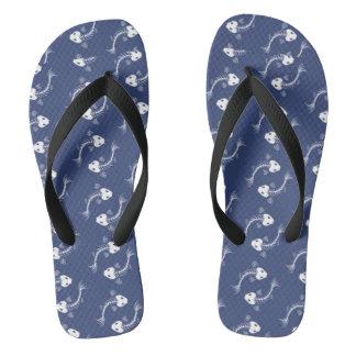 Blue Herring Bone Flip Flops