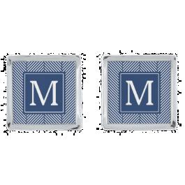 Blue Herringbone Pattern Monogram Silver Finish Cufflinks