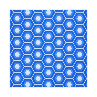 Blue Hex Tiled Canvas