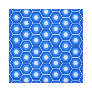 Blue Hex Tiled Canvas