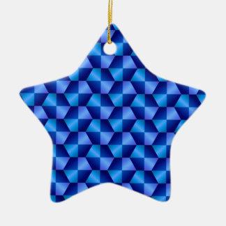 Blue Hexagons Ceramic Ornament