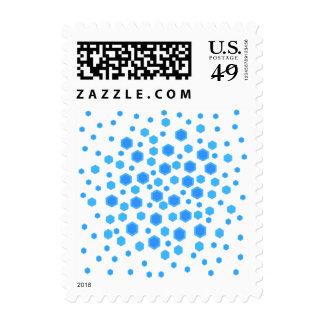 Blue Hexagons Pattern. Postage
