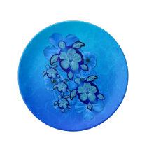 Blue Hibiscus And 5 Honu Turtles Dinner Plate