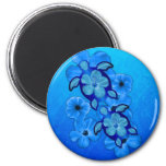 Blue Hibiscus And Honu Turtles 2 Inch Round Magnet