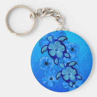 Blue Hibiscus And Honu Turtles Basic Round Button Keychain