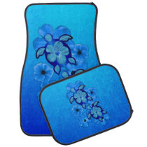 Blue Hibiscus And Honu Turtles Car Mat
