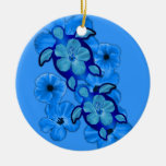 Blue Hibiscus And Honu Turtles Christmas Ornament