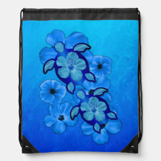 Blue Hibiscus And Honu Turtles Drawstring Bag