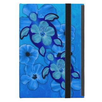 Blue Hibiscus And Honu Turtles Cover For iPad Mini
