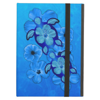 Blue Hibiscus And Honu Turtles iPad Cover