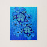 Blue Hibiscus And Honu Turtles Jigsaw Puzzle