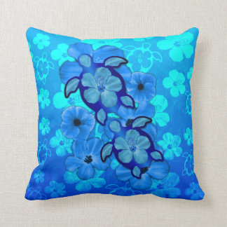 Blue Hibiscus And Honu Turtles Throw Pillow