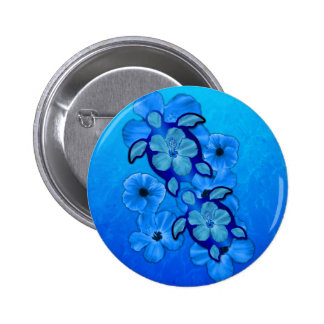 Blue Hibiscus And Honu Turtles Pinback Button