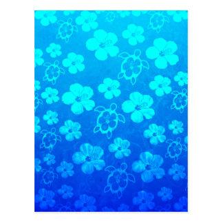 Blue Hibiscus And Honu Turtles Postcards