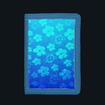 """Blue Hibiscus And Honu Turtles Trifold Wallet<br><div class=""""desc"""">The Hawaiian Sea Turtle is a symbol of peace,  good luck,  and the spirit within. It is based on the Hawaiian legend of Kauila,  a green sea turtle that could change into a girl and watch over the children of Hawaii. Tropical design with blue gradient hibiscus and honu turtles.</div>"""