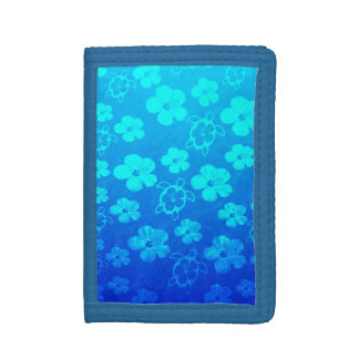 Blue Hibiscus And Honu Turtles Trifold Wallet