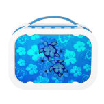 Blue Hibiscus And Honu Turtles Yubo Lunch Box