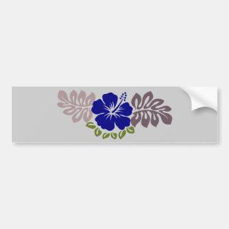 Blue Hibiscus and leaves Car Bumper Sticker