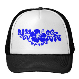Blue Hibiscus and Leaves Trucker Hat