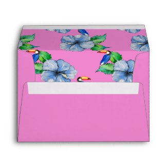 Blue Hibiscus and Toucans on Pink Envelope