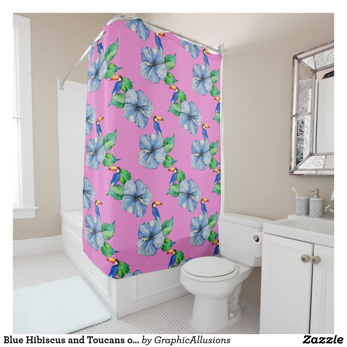 Blue Hibiscus and Toucans on Pink Shower Curtain