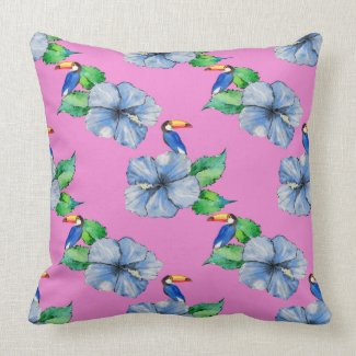 Blue Hibiscus and Toucans on Pink Throw Pillow
