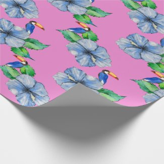 Blue Hibiscus and Toucans on Pink Wrapping Paper