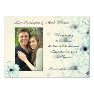"""Blue Hibiscus Art, Save the Date Picture Cards 4.5"""" X 6.25"""" Invitation Card"""