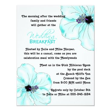sandpiperwedding Blue Hibiscus Art Wedding Breakfast Card