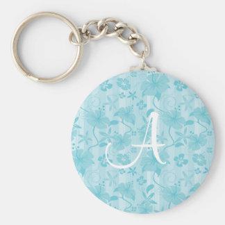 Blue Hibiscus Beach Pattern Basic Round Button Keychain