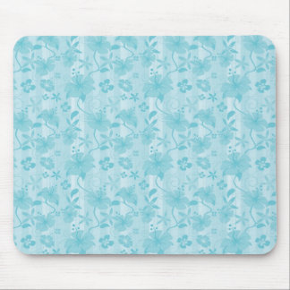Blue Hibiscus Beach Pattern Mouse Pad