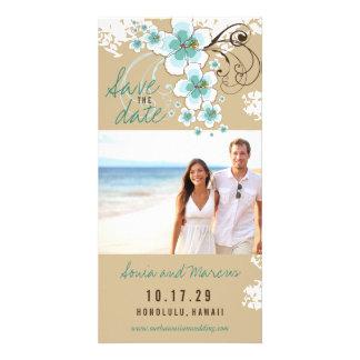 Blue Hibiscus Beach Wedding Save The Date Card