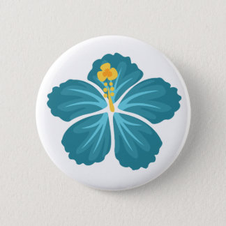 Blue Hibiscus Button
