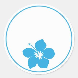 Blue Hibiscus Classic Round Sticker