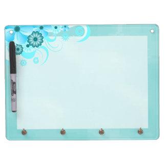 Blue Hibiscus DryErase Board Horizontal 9x12 Hooks